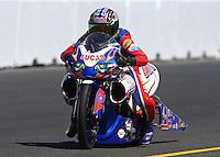 Jul. 27, 2013; Sonoma, CA, USA: NHRA pro stock motorcycle rider Hector Arana Sr during qualifying for the Sonoma Nationals at Sonoma Raceway. Mandatory Credit: Mark J. Rebilas-