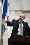 Israel Finance Minister Yuval Steinitz speaks during a discussion on Israel's budget in the Knesset (Parliament) in Jerusalem, Wednesday, June 17, 2009. Amid an opposition boycott, the Knesset approved today the first readings of the biennial budget and Economic Arrangements Bill. Photo By : Emil Salman / JINI