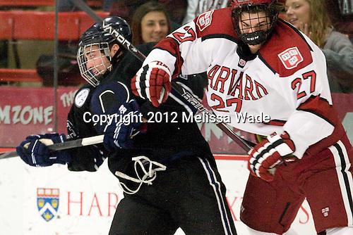 Alex Grieve (Bentley - 23), Petr Placek (Harvard - 27) - The Harvard University Crimson defeated the visiting Bentley University Falcons 5-0 on Saturday, October 27, 2012, at Bright Hockey Center in Boston, Massachusetts.