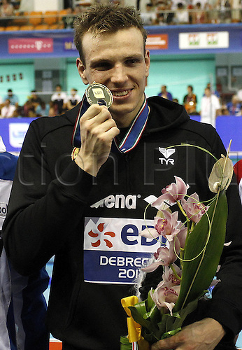21.05.2012.  Debrecen Hungary. Len euro 2012 Debrecen Hungary  Len European Championships 400m Free style the men Award Ceremony Picture shows Paul Biedermann ger with the Medal