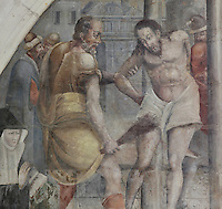 Christ being whipped before his crucifixion, Flagellation fresco, Chapter House, Fontevraud Abbey, Fontevraud-l'Abbaye, Loire Valley, Maine-et-Loire, France. The Chapter House was built in the 16th century and its walls were painted in 1563 with frescoes of scenes from Christ's Passion by the Anjou artist Thomas Pot. The abbey itself was founded in 1100 by Robert of Arbrissel, who created the Order of Fontevraud. It was a double monastery for monks and nuns, run by an abbess. Picture by Manuel Cohen