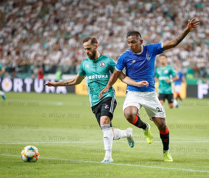 22.08.2019 Legia Warsaw v Rangers: Alfredo Morelos and Luis Rocha