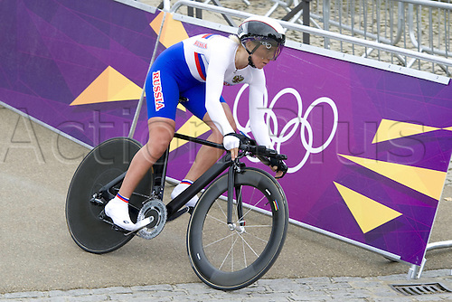 01.08.2012  LONDON, England. Olga Zabelinskaya of Russia competes during womens Cycling Road individual time trial contest, in London 2012 Olympic Games