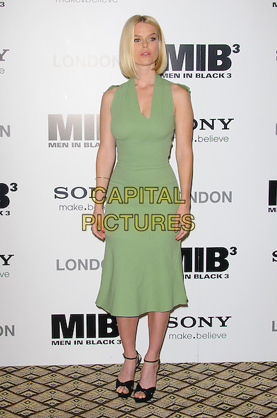Alice Eve.The UK photocall for 'Men In Black 3' at the Dorchester Hotel, Park Lane, London, England..16th May 2012.MIB3 III full length green dress sleeveless black ankle strap shoes .CAP/CJ.©Chris Joseph/Capital Pictures.