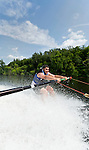 Southbury, CT- 17 July 2015-071715CM04- John Diodato holds onto a boom arm as he learns to waterski on Lake Zoar in Southbury on Friday.  Diodato who is visually impaired, was leaning to waterski with the help of Leap of Faith Adaptive Skiers, an organization based out of Newton, CT.    Christopher Massa Republican-American