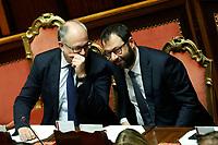 Roberto Gualtieri Minister of Economy and Stefano Patuanelli Minister of Economic Development<br /> Rome December 12th 2019. Speech of the Italian Premier about MES, European Stability Mechanism.<br /> Foto Samantha Zucchi Insidefoto