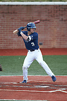 Carson Simpson (3) of the Wingate Bulldogs at bat against the Concord Mountain Lions at Ron Christopher Stadium on February 1, 2020 in Wingate, North Carolina. The Bulldogs defeated the Mountain Lions 8-0 in game one of a doubleheader. (Brian Westerholt/Four Seam Images)