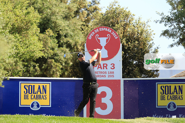 Peter Hanson (SWE) on the 3rd tee during Round 2 of the Open de Espana  in Club de Golf el Prat, Barcelona on Friday 15th May 2015.<br /> Picture:  Thos Caffrey / www.golffile.ie