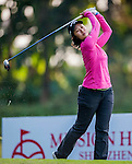 Xiyu Lin of China plays a shot during the Hyundai China Ladies Open 2014 at World Cup Course in Mission Hills Shenzhen on December 13 2014, in Shenzhen, China. Photo by Xaume Olleros / Power Sport Images