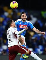 29th February 2020; Stadio San Paolo, Naples, Campania, Italy; Serie A Football, Napoli versus Torino; Konstantinos Manolas of Napoli wins the header from Lukic of Torino