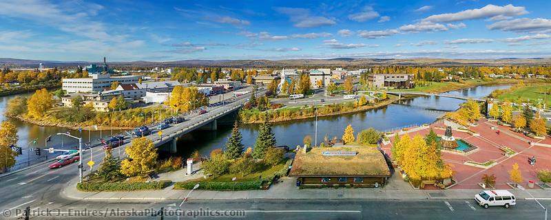 Downtown Fairbanks, Centennial bridge, Golden Heart Park. Fairbanks, Alaska