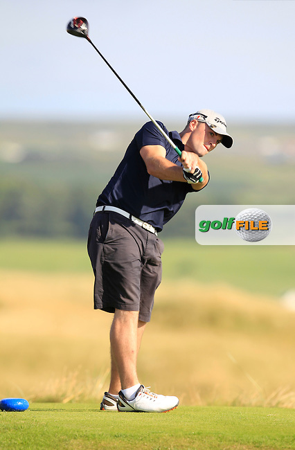 Chris Tormey (Mullingar) on the 2nd tee during the South of Ireland Amateur Open Championship First Round at Lahinch Golf Club  27th July 2013 <br /> Picture:  Thos Caffrey / www.golffile.ie