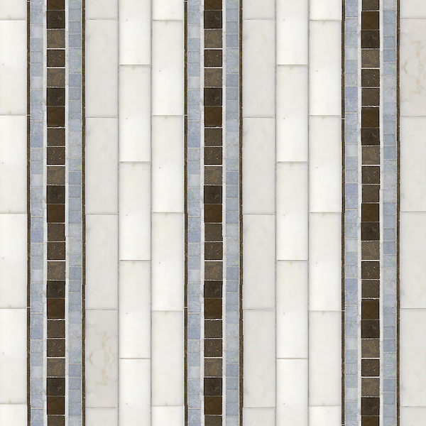 Serene Stripe, a hand-cut stone mosaic, shown in honed Montevideo, polished Calacatta, and polished Celeste.