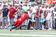 College Park, MD - September 15, 2018: Maryland Terrapins defensive back Darnell Savage Jr. (4) tackles Temple Owls wide receiver Branden Mack (88)  during the game between Temple and Maryland at  Capital One Field at Maryland Stadium in College Park, MD.  (Photo by Elliott Brown/Media Images International)