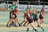 KORFBAL: GORREDIJK: sportpark Kortezwaag, 23-09-2012, hoofdklasse A, LDODK - Mid Fryslan, Eindstand 17-17, Markus de Boer (#16 | LDODK), Henk Bijker (#18 | LDODK), Sjoerd Pool (#17 | MF), Nynke Sinnema (#5 | MF), Jildou Slagmann (#4 | LDODK), Betty Jansma (#9 | LDODK), Janny Huitema (#6 | MF), ©foto Martin de Jong