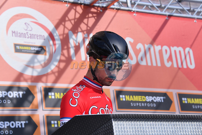 Sprinter Nacer Bouhanni (FRA) Cofidis at sign on before the start of the 108th edition of Milan-San Remo 2017 by NamedSport the first Classic Monument of the season running 291km from Milan to San Remo, Italy. 18th March 2017.<br /> Picture: La Presse/Gian Mattia D'Alberto | Cyclefile<br /> <br /> <br /> All photos usage must carry mandatory copyright credit (&copy; Cyclefile | La Presse)