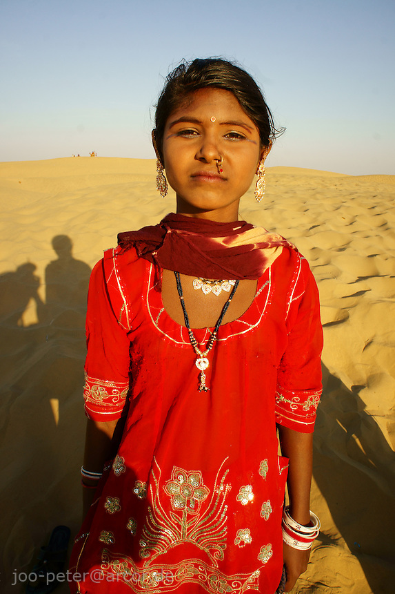 girl in the desert dunes, about 40km west of Jaisalmer, Rajastan, India