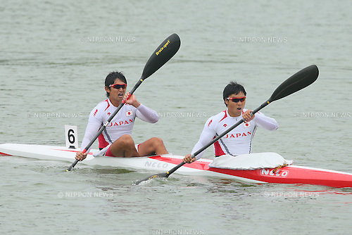 Keiji Mizumoto &amp; Yasuhiro Suzuki (JPN), <br /> SEPTEMBER 29, 2014 - Canoe Sprint : <br /> Men's Kayak Double 1000m Final <br /> at Hanam Misari Canoe/Kayak Center <br /> during the 2014 Incheon Asian Games in Incheon, South Korea. <br /> (Photo by YUTAKA/AFLO SPORT)