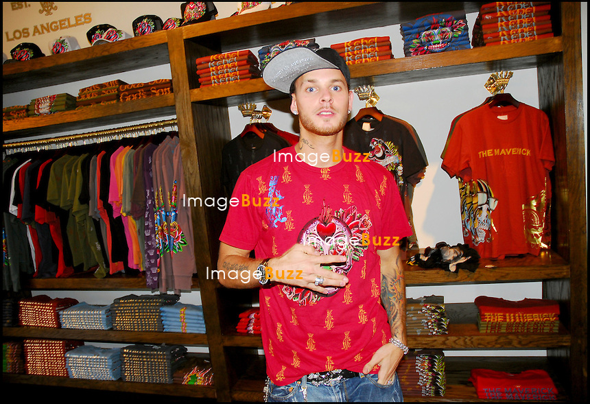 "MATT POKORA CHEZ LE STYLISTE CHRISTIAN AUDIGIER A LOS ANGELES..FRENCH SINGER MATT POKORA MEETS WITH FRENCH DESIGNER CHRISTIAN AUDIGIER AT HIS STORE "" ED HARDY "" ON MELROSE AVENUE."