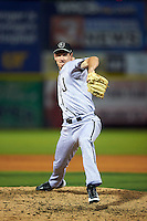 Jacksonville Suns pitcher Brian Ellington (37) delivers a pitch during a game game against the Chattanooga Lookouts on April 30, 2015 at AT&T Field in Chattanooga, Tennessee.  Jacksonville defeated Chattanooga 6-4.  (Mike Janes/Four Seam Images)