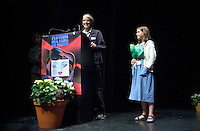 August 29,  2002, Montreal, Quebec, Canada<br /> <br /> Anne Wild, Film Maker (L)<br /> Henriette Confurius, 11year old actress (R)<br /> on stage at the Maisonneuve Theater of the PLACE DES ARTS in Montreal Canada<br /> , before the screening of Wild's movie<br /> MEIN ERSTES WUNDER (My First Miracle), presented in the official competitionof the 26th World Film Festival, August 29, 2002<br /> <br /> Born in Offenburg, Germany in 1967, Anne Wild studied literature, philosophy and art history at the University of Freiburg and acting at the Academy of Music and Applied Arts in Stuttgart. In the mid-1990s she worked in advertising in Hamburg and Berlin, then studied screenwriting and directing. Since 1997 she has worked as a freelance journalist for newspapers, radio and television. She wrote the script for WAS TUN, WENN'S BRENNT? (2002) and directed Afternoon in Siedlisko (2000) and Ballett ist ausgefallen (2001). MY FIRST MIRACLE marks her directorial debut in features. <br /> , LUCIE AUBRAC (Claude Berri, 1997), THE COMEDIAN HARMONISTS (Joseph Vilsmaier, 1997), and two by Tom Tykwer, WINTERSLEEPERS (1997) and RUN, LOLA, RUN (1998). He starred in Roland Suso Richter's hit film THE TUNNEL (2001), winner of the audience award at last year's Montreal World Film Festival, and his most recent film, THE SEAGULL'S LAUGHTER, is also showing at this year's Festival. He represents the new wave of german actors. <br /> <br /> <br /> Mandatory Credit: Photo by Pierre Roussel- Images Distribution. (©) Copyright 2002 by Pierre Roussel <br /> <br /> NOTE : <br />  Nikon D-1 jpeg opened with Qimage icc profile, saved in Adobe 1998 RGB<br /> .Uncompressed  Uncropped  Original  size  file availble on request.