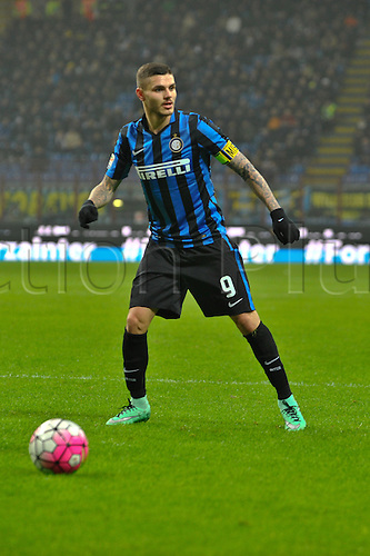 06.03.2016. Milan, Italy.  Mauro Icardi of FC Inter in action during the Italian Serie A League soccer match between Inter Milan and US città Palermo at San Siro Stadium in Milan, Italy.