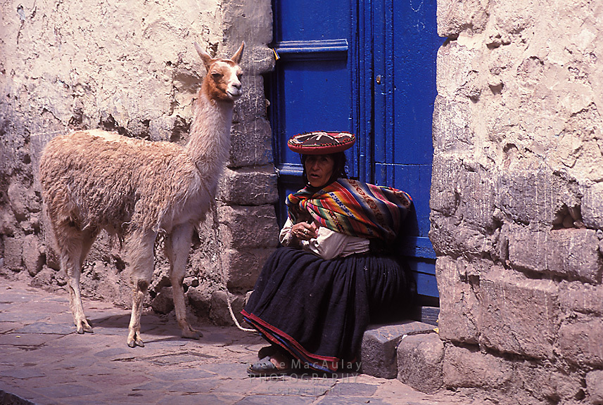 Woman in traditional clothing and hat with Llama in front of bright blue doorway, Cusco, Peru