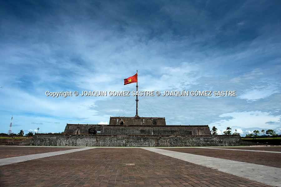 The flag tower (Cot Co) is located at the entrance of the Imperial City of Hue in Vietnam<br /> HUE-VIETNAM