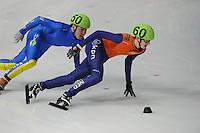 SCHAATSEN: DORDRECHT: Sportboulevard, Korean Air ISU World Cup Finale, 11-02-2012, Itzhak de Laat NED (60), Andrey Starzhinskiy KAZ (60), ©foto: Martin de Jong