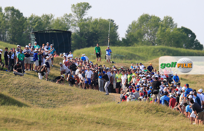 Jason DAY (AUS) plays his 2nd shot from the rough on the 15th hole  during Sunday's Final Round of the 97th US PGA Championship 2015 held at Whistling Straits, Mosel, Kohler, Wisconsin, United States of America. 16/08/2015.<br /> Picture Eoin Clarke, www.golffile.ie