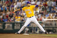 LSU Tigers pitcher Jake Godfrey (29) delivers a pitch to the plate against the TCU Horned Frogs in Game 10 of the NCAA College World Series on June 18, 2015 at TD Ameritrade Park in Omaha, Nebraska. TCU defeated the Tigers 8-4, eliminating LSU from the tournament. (Andrew Woolley/Four Seam Images)