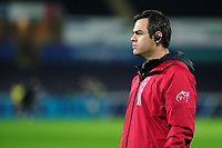 Johann van Graan Head Coach of Munster during the pre match warm up for the Heineken Champions Cup Round 1 match between the Ospreys and Munster at the Liberty Stadium in Swansea, Wales, UK. Saturday 16th November 2019