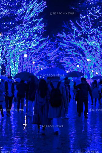 Visitors enjoy the Blue Grotto Shibuya illuminations on November 22, 2017, Tokyo, Japan. Thousands of blue LED lights turn the streets from Yoyogi Park to Koen Dori into a 800-meter cave. The event runs til December 31, 2017. (Photo by Rodrigo Reyes Marin/AFLO)