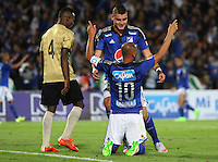 BOGOTA - COLOMBIA - 30-08-2015: Mayer Candelo jugador de Millonarios  celebra su gol contra  Aguilas Doradas    durante partido  por la fecha 9 de la Liga Aguila II 2015 jugado en el estadio Nemesio Camacho El Campin . / Mayer Candelo player of Millonarios celebrates his goal  against  of Aguilas Doradas during a match for the ninth date of the Liga Aguila II 2015 played at Nemesio Camacho El Campin stadium in Bogota  city. Photo: VizzorImage / Felipe Caicedo / Staff.