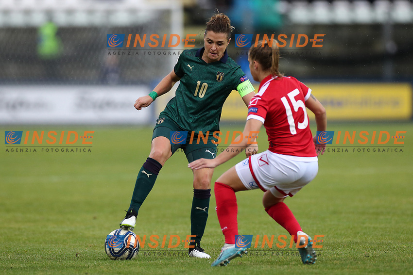 Cristiana Girelli of Italy and Jade Flask of Malta compete for the ball<br /> Castel di Sangro 12-11-2019 Stadio Teofolo Patini <br /> Football UEFA Women's EURO 2021 <br /> Qualifying round - Group B <br /> Italy - Malta<br /> Photo Cesare Purini / Insidefoto