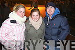 Pictured at the Aquadome fireworks on New Year's Eve were l-r: Katie Dillane, Niamh Dillane and Ian Lohan (Tralee)..