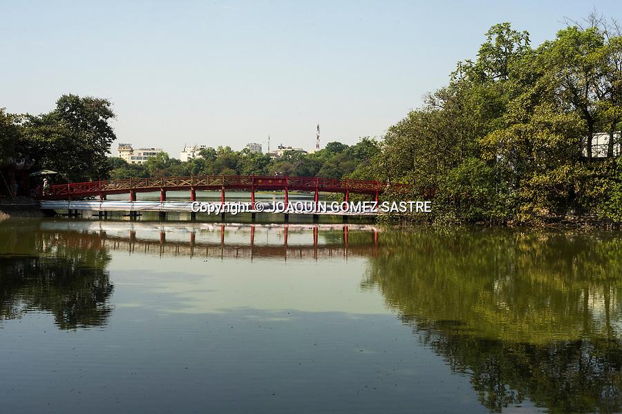 The famous Huc Bridge across Hoan Kiem Lake in Hanoi (Vietnam)