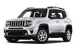 Stock pictures of low aggressive front three quarter view of 2019 JEEP Renegade Limited 5 Door SUV Low Aggressive