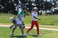 Eunshin Park (KOR) and Kenneth Quillinan (caddy) on the 9th during Round 3 of the Rocco Forte Sicilian Open 2018 played at Verdura Resort, Agrigento, Sicily, Italy on Saturday 12th May 2018.<br /> Picture:  Thos Caffrey / www.golffile.ie<br /> <br /> All photo usage must carry mandatory copyright credit (&copy; Golffile | Thos Caffrey)