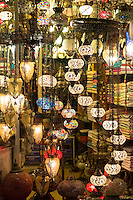 Turkish lamps in window of lighting and gift shop in Kucukayasofya Caddesi in Sultanahmet, Istanbul, Turkey