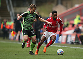 24th March 2018, The Valley, London, England;  English Football League One, Charlton Athletic versus Plymouth Argyle; David Fox of Plymouth Argyle puts pressure on Tariqe Fosu of Charlton Athletic
