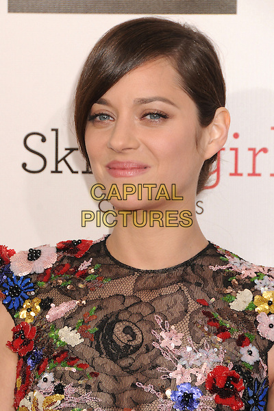 Marion Cotillard.18th Annual Critics' Choice Movie Awards - Arrivals held at Barker Hangar, Santa Monica, California, USA, .10th January 2013 .portrait headshot hair beauty side black lace flowers floral red white blue poppy short sleeved beaded yellow .CAP/ADM/BP.©Byron Purvis/AdMedia/Capital Pictures.