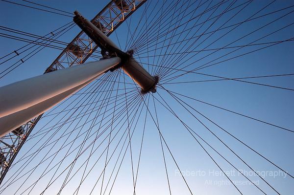 Close up of the London Eye Ferris wheel, South Bank, London UK
