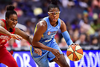 Washington, DC - July 13, 2018: Chicago Sky guard Diamond DeShields (1) dribbles past Washington Mystics guard Ariel Atkins (7) during game between the Washington Mystics and Chicago Sky at the Capital One Arena in Washington, DC. The Mystics defeat the Sky 88-72 (Photo by Phil Peters/Media Images International)