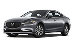 Stock pictures of low aggressive front three quarter view of a 2019 Mazda Mazda6 Sport 4 Door Sedan