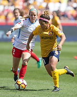 Sandy, UT - Saturday April 14, 2018: Desiree Scott during a regular season National Women's Soccer League (NWSL) match between the Utah Royals FC and the Chicago Red Stars at Rio Tinto Stadium.