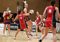 05.10.2012 Southland's Hayley Saunders and Counties Manukau's Ruth Hei Hei in action during the netball match between Southland and Counties Manukau at the Lion Foundation Netball Champs in Tauranga. Mandatory Photo Credit ©Michael Bradley.