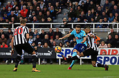 4th November 2017, St James Park, Newcastle upon Tyne, England; EPL Premier League football, Newcastle United Bournemouth; Marc Pugh of AFC Bournemouth shoots past DeAndre Yedlin of Newcastle United with Florian Lejeune of Newcastle United close by