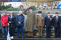 Pictured: Members of the Armed Forces joined with locals during the service. Sunday 11 November 2018<br /> Re: Commemoration for the 100 years since the end of the First World War on Remembrance Day at the Swansea Cenotaph in south Wales, UK.