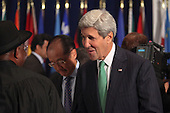 United States Secretary of State John F. Kerry attends a luncheon hosted by United Nations Secretary-General Ban Ki-moon at the United Nations 69th General Assembly. <br /> Credit: Allan Tannenbaum / Pool via CNP